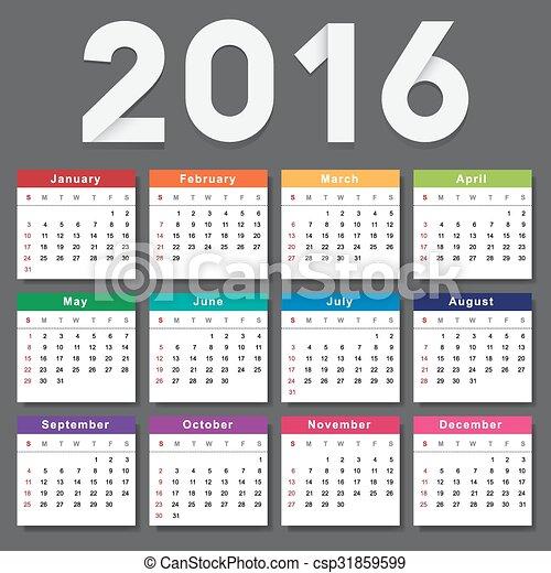 vecka, startar, söndag, kalender, 2016. - csp31859599