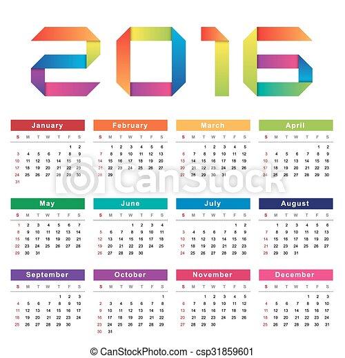 vecka, startar, söndag, kalender, 2016. - csp31859601