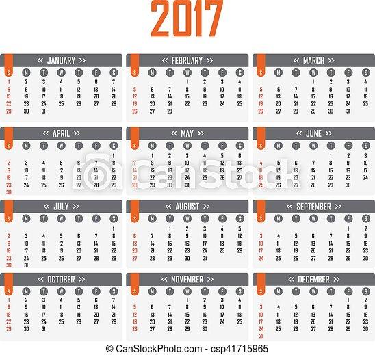 vecka, startar, söndag, kalender, 2017. - csp41715965
