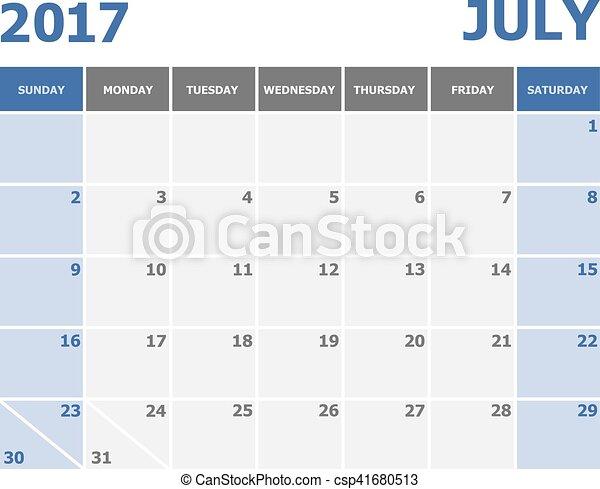 vecka, startar, söndag, kalender, 2017, juli - csp41680513