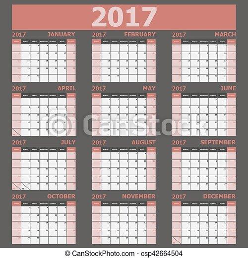 vecka, startar, tone), (red, söndag, kalender, 2017 - csp42664504
