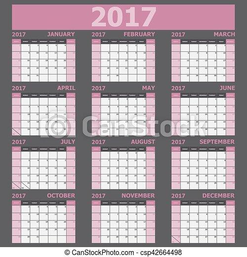 vecka, startar, tone), söndag, (pink, kalender, 2017 - csp42664498