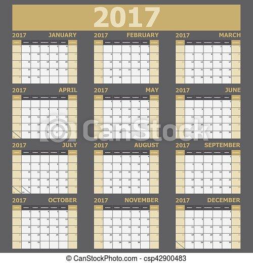 vecka, startar, tone), söndag, (yellow, kalender, 2017 - csp42900483