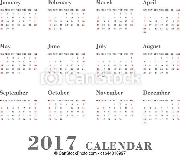 vecka, startar, vit, bakgrund., sunday., 2017, kalender - csp44016997