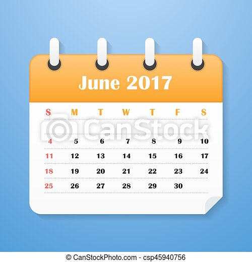 vecka, usa, startar, juni, 2017., sunday., kalender - csp45940756