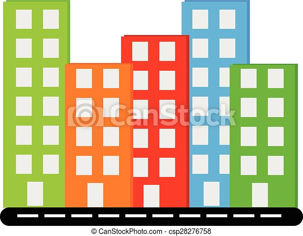 vecor siluet different colors buildings with windows on clipart rh canstockphoto com building clip art images building clip art free