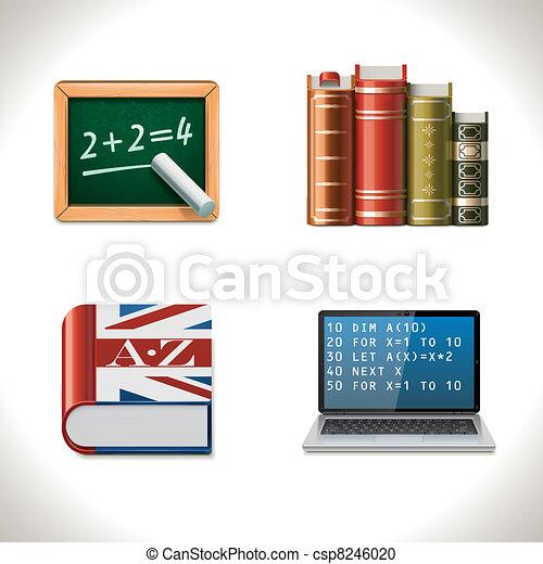 vecteur, école, 2, icons., partie - csp8246020
