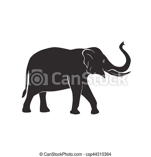 vecteur, éléphant, icône. silhouette, simple, éléphant, symbole