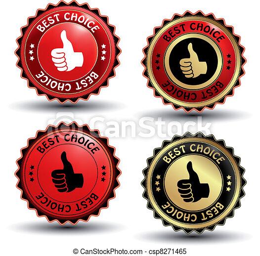vecteur, étiquettes, guaranteed, mieux, choix - csp8271465