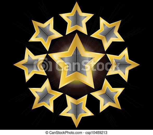 vecteur, étoile, or, illustration, étiquette - csp10489213