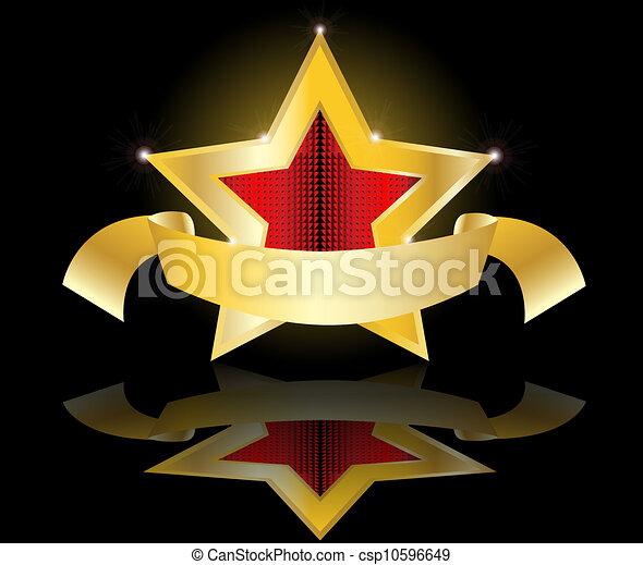 vecteur, étoile, or, illustration, étiquette - csp10596649