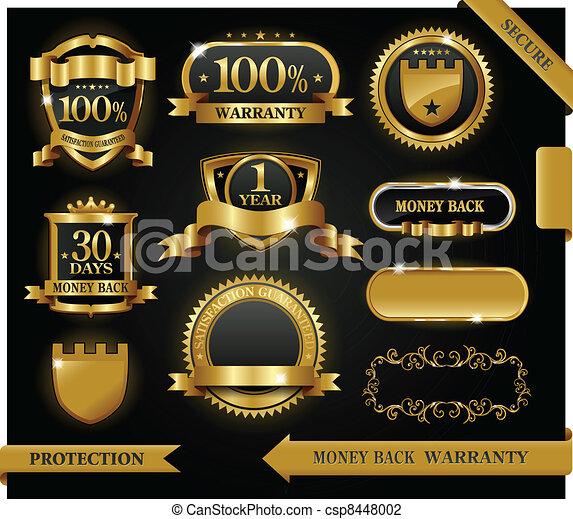 vecteur, 100%, guaranteed, étiquette, satisfaction, protection, signe - csp8448002