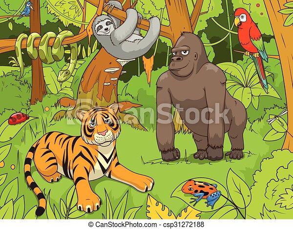 vecteur, animaux, jungle, illustration, dessin animé - csp31272188