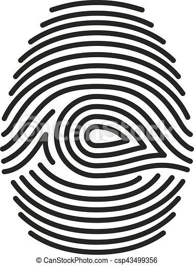 vecteur, arrière-plan noir, isolé, blanc, empreinte doigt - csp43499356