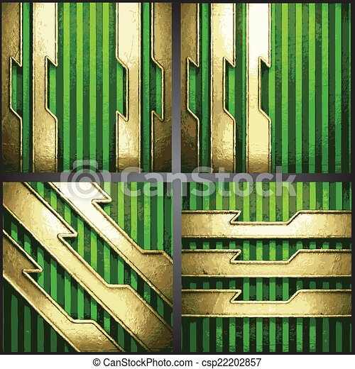 vecteur, arrière-plan vert, or - csp22202857