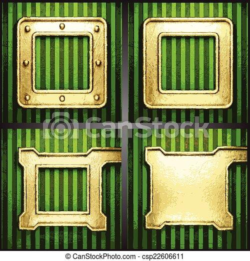 vecteur, arrière-plan vert, or - csp22606611