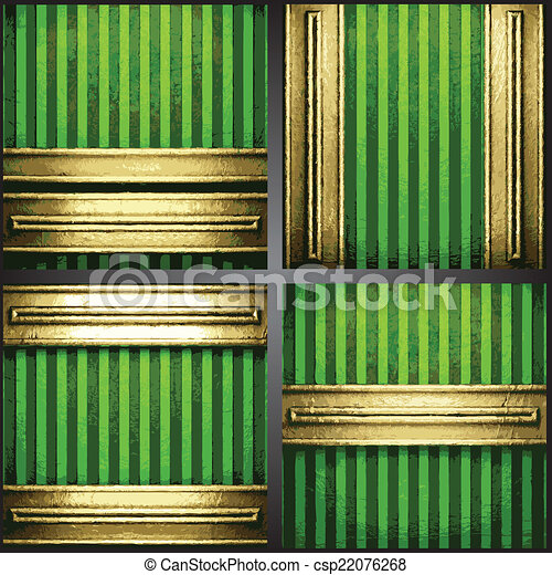 vecteur, arrière-plan vert, or - csp22076268