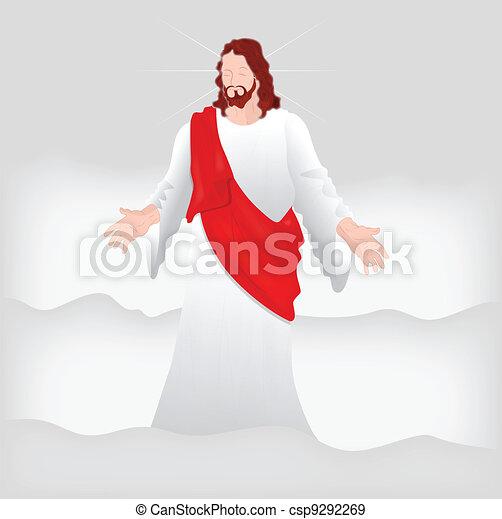 vecteur, art, christ, jésus - csp9292269