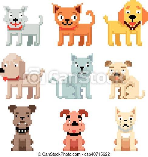 Vecteur Art Icons Pixel Chats Animaux Familiers 8 Morceau Chiens