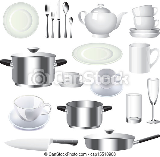 nouveau style 5cf5d bb9e6 vecteur, articles, ensemble, vaisselle, cuisine