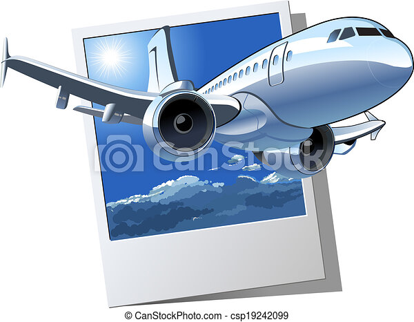 Vecteur avion ligne dessin anim disponible s par groupes format diter airliner - Dessin avion stylise ...