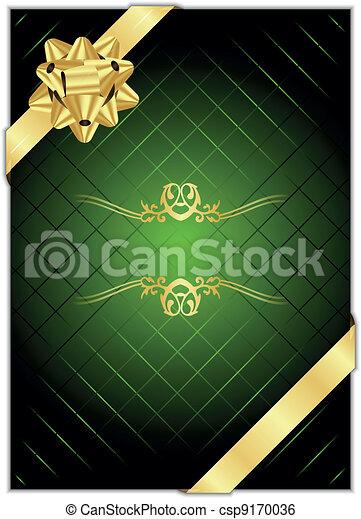 vecteur, b, arrière-plan vert, or - csp9170036