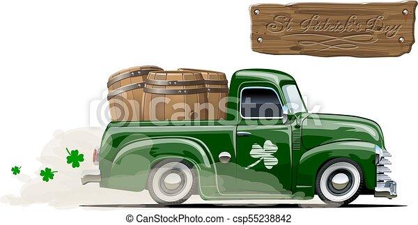 vecteur, bière, dessin animé, patrick's, pick-up, retro, saint - csp55238842