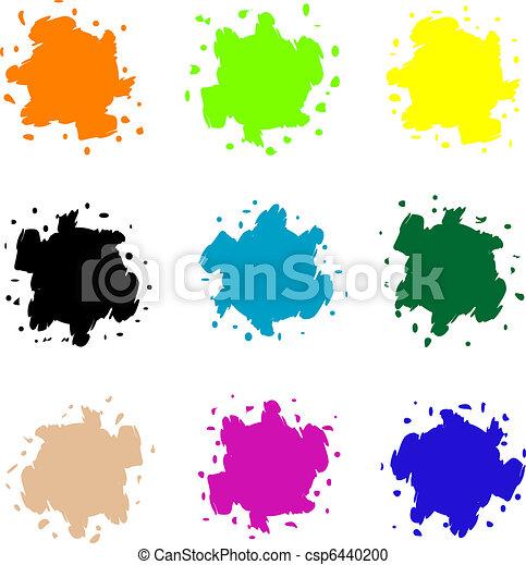 vecteur, blots, ensemble, coloré - csp6440200