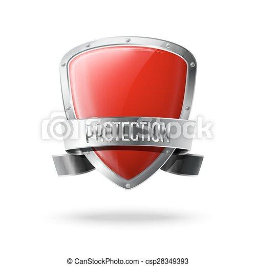 vecteur, bouclier, border., réaliste, protection, lustré, vide, argent, ruban, rouges - csp28349393