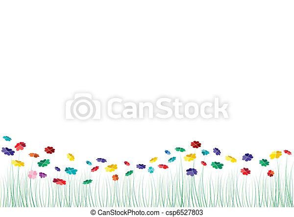 vecteur, cœurs, fleurs, printemps - csp6527803