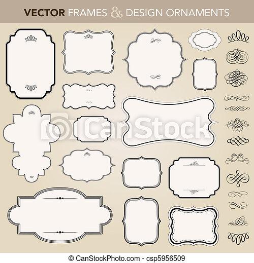 vecteur, cadre, ensemble, ornement, orné - csp5956509