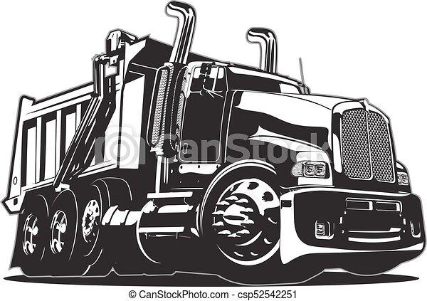 vecteur, camion, dessin animé, décharge - csp52542251