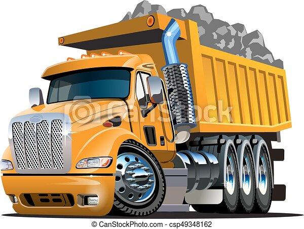 vecteur, camion, dessin animé, décharge - csp49348162