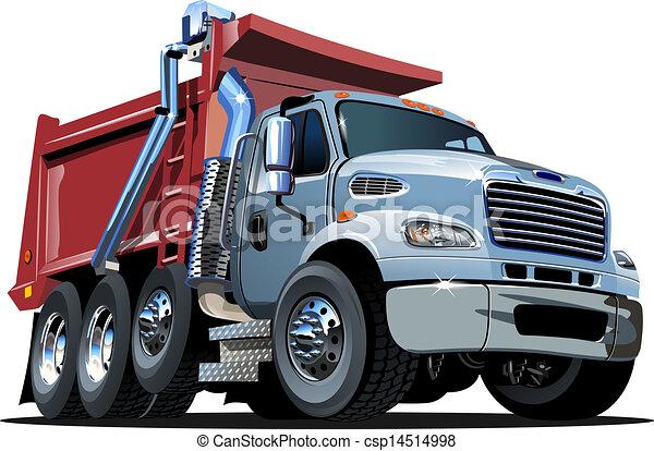 vecteur, camion, dessin animé, décharge - csp14514998