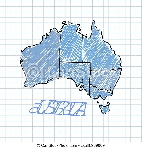 Carte Australie Papier.Vecteur Carte Australie Illustration Main Stylo Papier