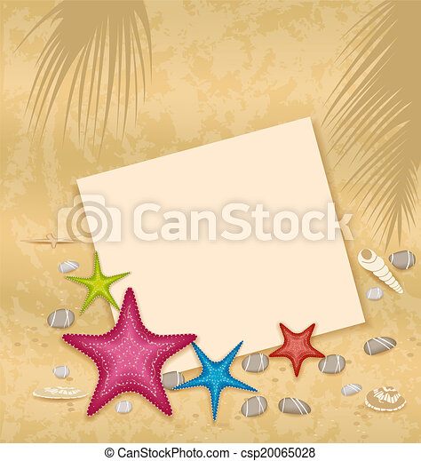 vecteur, carte, -, illustration, papier sable, fond, pierres, seashells, caillou, starfishes - csp20065028