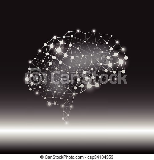 vecteur, cerveau, concept, humain, fond - csp34104353