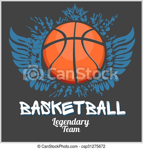 vecteur, championnat, emblème, -, t-shirt, basket-ball - csp31275672