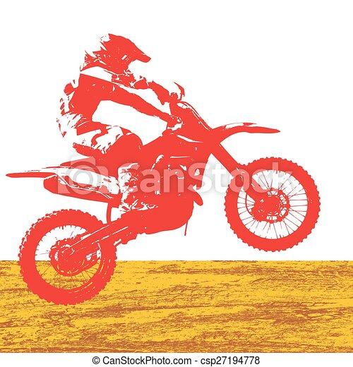 vecteur, championship., motocross, participates, cavalier, illustration. - csp27194778