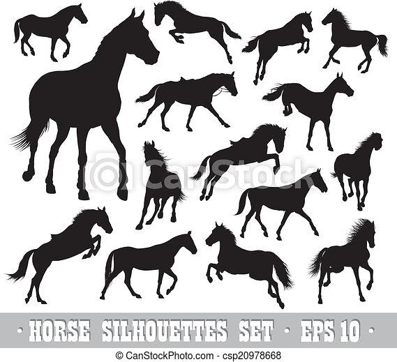 vecteur, chevaux, ensemble - csp20978668