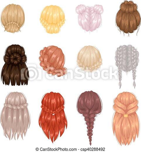 vecteur coiffure dos femme vue beau coiffure femme femme directement lisser dos. Black Bedroom Furniture Sets. Home Design Ideas