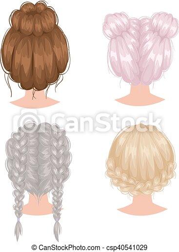 vecteur coiffure dos femme vue beau coiffure femme illustration vectorielle. Black Bedroom Furniture Sets. Home Design Ideas