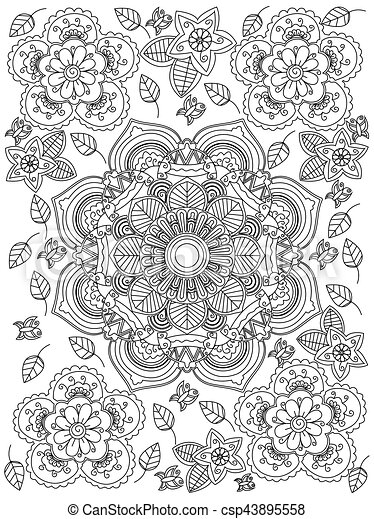 vecteur, coloration, mandala, adultes, fleur , csp43895558