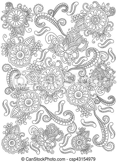 vecteur, coloration, mandala, adultes, fleur , csp43154979