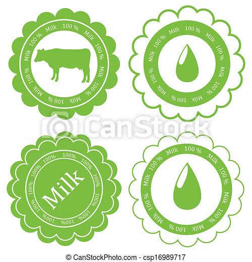 vecteur, concept, organique, ferme, étiquette, écologie, fond, animaux, lait, marché - csp16989717