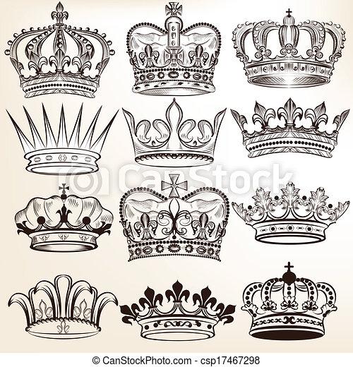 vecteur, couronnes royales, collection - csp17467298