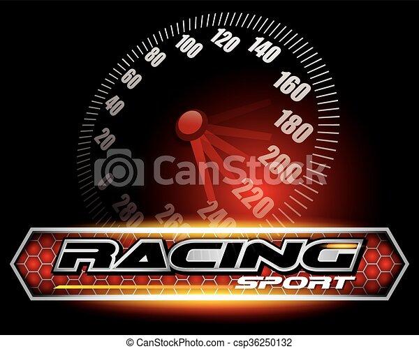 vecteur, courses, logo, conception, sport, concept - csp36250132