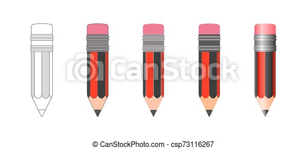 vecteur, crayon, ensemble, isolé, icônes - csp73116267