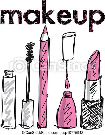 vecteur, croquis, maquillage, illustration, products. - csp10775942