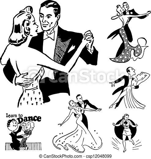 vecteur, danse, retro, salle bal, graphiques - csp12048099